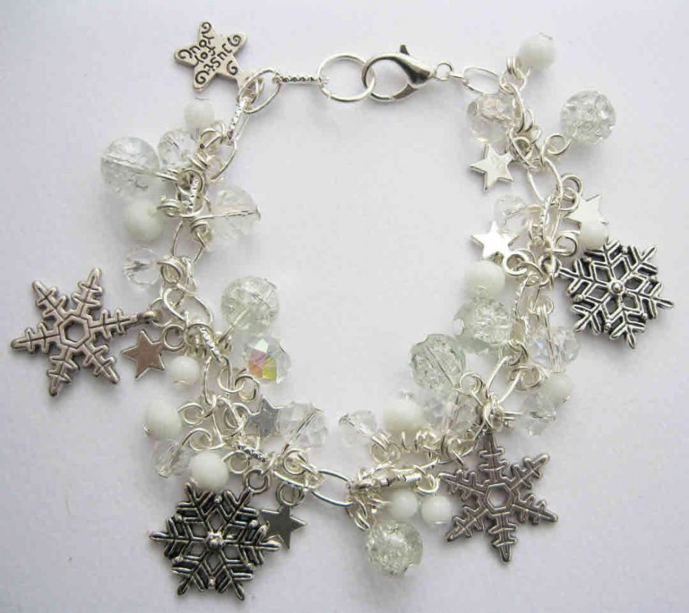 icy snowflakes charm and beaded bracelet kit